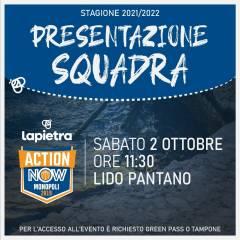 Lapietra Action Now Monopoli: Sabato 2 ottobre presentazione ufficiale della squadra