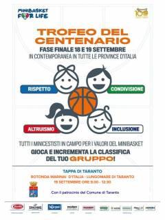 Domenica a Taranto il Trofeo del Centenario Fip con i piccoli del minibasket