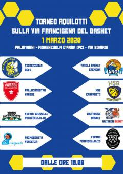 """Logo Torneo Aquilotti """"Sulla Via Francigena del Basket"""" 2020"""